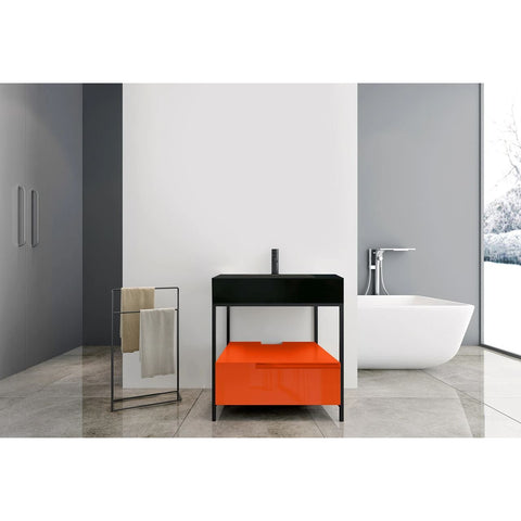 "Karton Republic Texel 30"" Red Amber/Dark Gray Industrial Style Freestanding Bathroom Vanity VATEXAM30FD"
