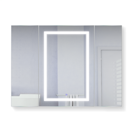 Image of Krugg LED Mirror Medicine Cabinet 48 W X 36 W/Dimmer & Defogger - Left hinge on middle door  Svange4836LLR