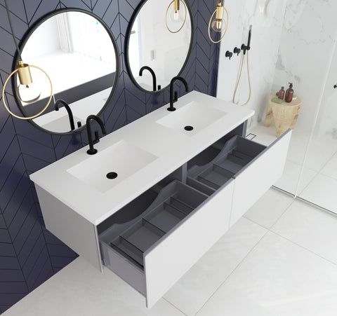 "Image of Laviva Vitri 60"" Cloud White Double Vanity With Matte White Countertop 313VTR-60DCW-MW"