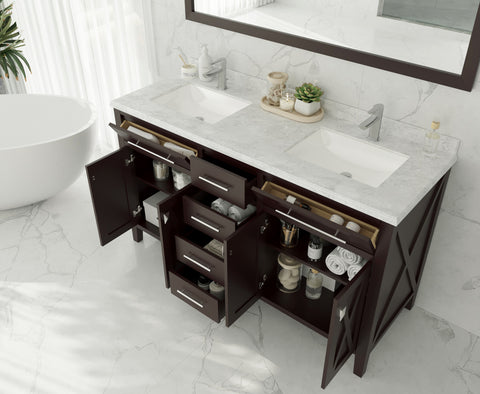 "Image of Laviva Wimbledon 60"" Brown Double Sink Vanity Matte White  Countertop 313YG319-60B-MW"