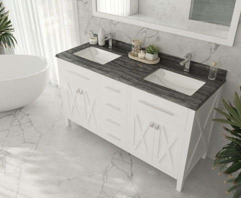 "Image of Laviva Wimbledon 60"" White Double Sink Vanity White Carrara Countertop  313YG319-60W-WC"