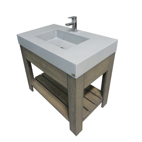 "Image of Trueform Concrete 36"" Lavare Vanity with Concrete Rectangle Sink & Drawer LAVARE-36N-D"