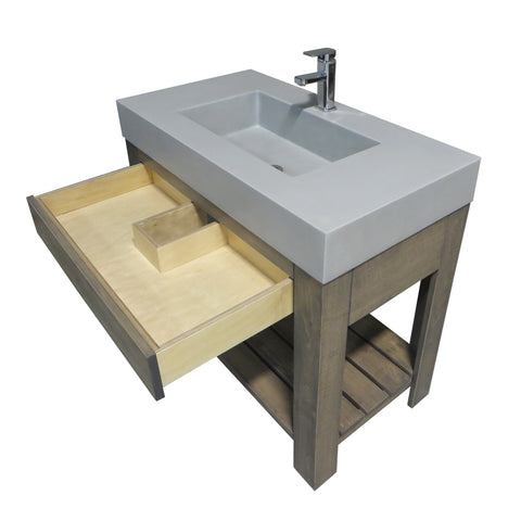 "Trueform Concrete 36"" Lavare Vanity with Concrete Rectangle Sink & Drawer LAVARE-36N-D"