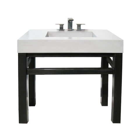 "Trueform Concrete 36"" Industrial Vanity With Concrete Half-Trough Sink IND-36C"