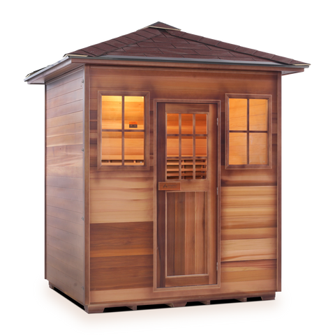 Image of Enlighten MoonLight 4 Peak 4 Person Dry Traditional Outdoor/Indoor Sauna T-16378