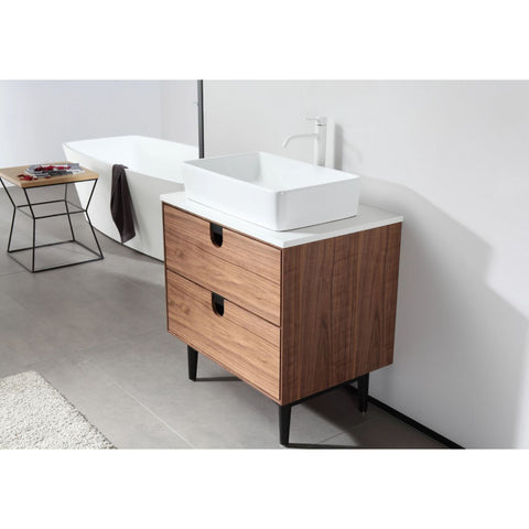 "Karton Republic Portree 30"" Walnut Mid-Century Freestanding Bathroom Vanity w/ Sink VAPORWA30FD"