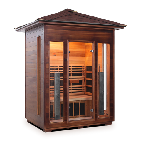 Image of Enlighten Rustic - 3 Person Indoor/Outdoor Peak Infrared Sauna 17377