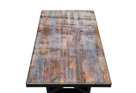 Maxima House Kanto-T Glass Top Solid Wood Dining Table SCANDI126