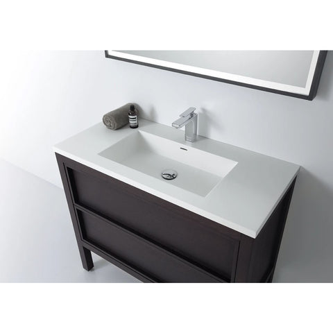 "Image of Karton Republic Annecy 48"" Charcoal Oak Freestanding Modern Bathroom Vanity w/ Sink  VAANNCH48FD"