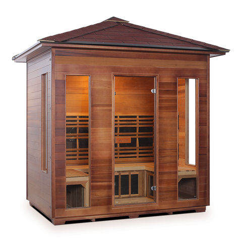 Enlighten Rustic - 5 Person Indoor/Outdoor Peak Infrared Sauna 19378