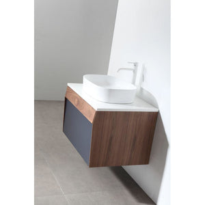 "Karton Republic Ronda 30"" Dark Blue Wall Mount Modern Bathroom Vanity w/Sink VARONDB30WM"