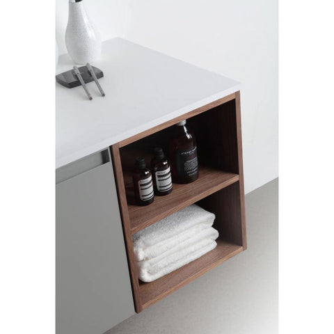 "Image of Karton Republic Manarola 42"" Light Gray Wall mount Modern Bathroom Vanity w/Sink (Open Shelves) VAMANRA42WMQZ"