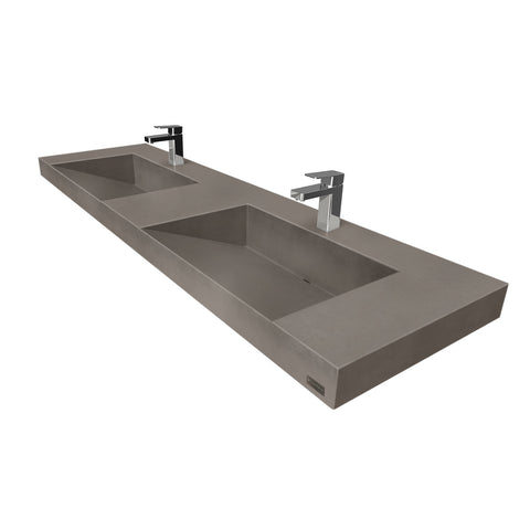 "Trueform Concrete 60"" Contempo Floating Concrete Double Ramp Sink FLO-60V-DBL-CONTEMPO"