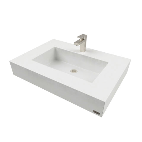 "Trueform Concrete 30"" ADA Floating Concrete Rectangle Sink FLO-30N-ADA"