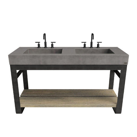 "Trueform Concrete 60"" Outland Vanity With Double Concrete Rectangle Sinks OUTLAND-60N-DBL"