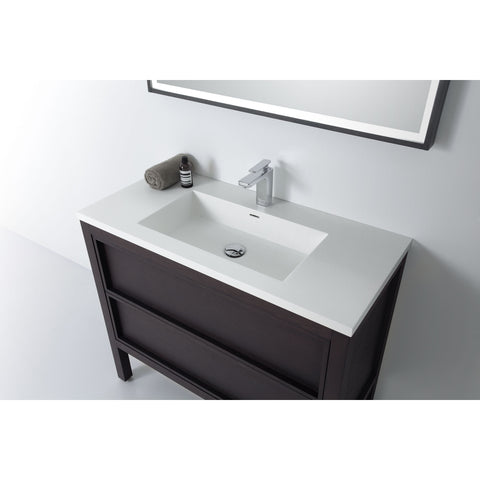 "Karton Republic Annecy 36"" Charcoal Oak Freestanding Modern Bathroom Vanity w/ Sink VAANNCH36FD"
