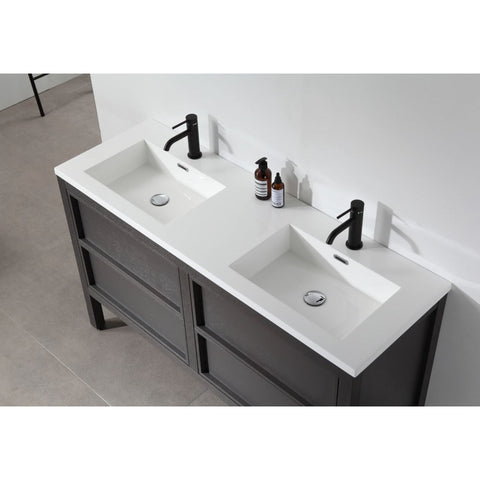 "Image of Karton Republic Annecy 55"" Charcoal Oak Freestanding Modern Bathroom Vanity Sink VAANNCH55FD"