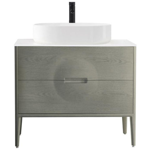 "Karton Republic Colmar 36"" Whitewash Oak Freestanding Modern Bathroom Vanity w/Sink VACOLOG36FD"