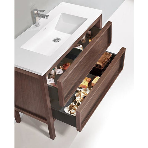 "Karton Republic Annecy 48"" Charcoal Oak Freestanding Modern Bathroom Vanity Sink  VAANNCH48FD"
