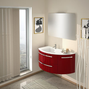"Latoscana Ambra 38"" Wall-Mounted Vanity With Right Rounded Cabinet in Glossy White AM38OPT1W"