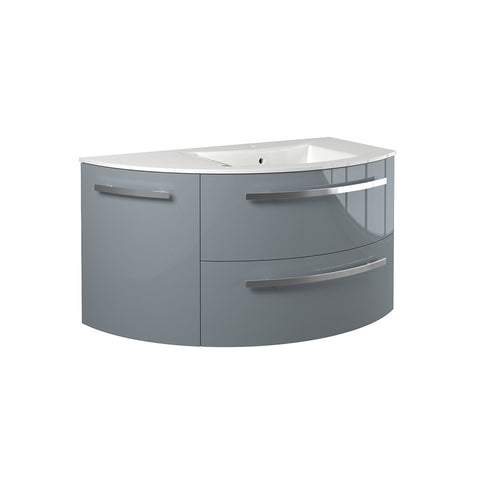 "Latoscana Ambra 38"" Wall-Mounted Vanity With Left Rounded Cabinet in Glossy White AM38OPT2W"