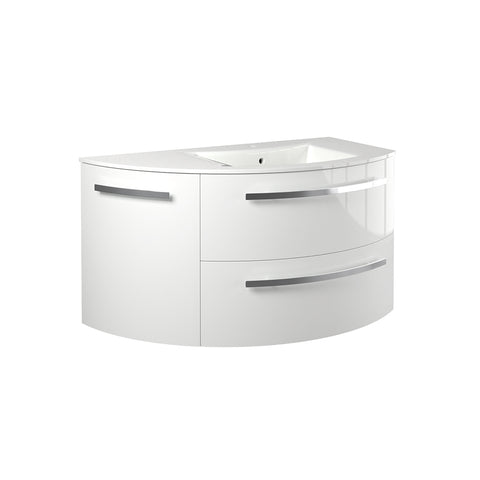 "Image of Latoscana Ambra 38"" Wall-Mounted Vanity With Left Rounded Cabinet in Glossy White AM38OPT2W"