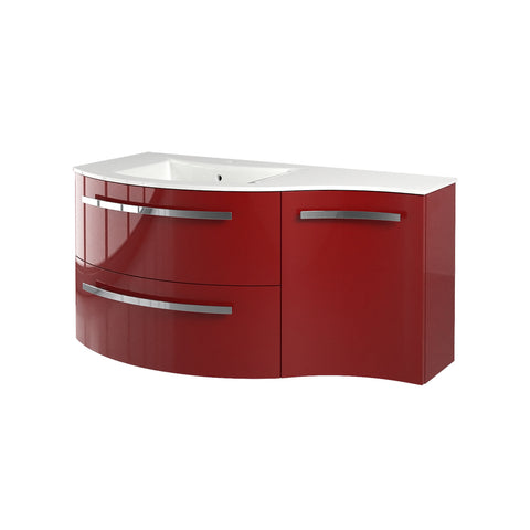 "Latoscana Ambra 43"" Wall-Mounted Vanity With Right Concave Cabinet in Glossy White AM43OPT1W"