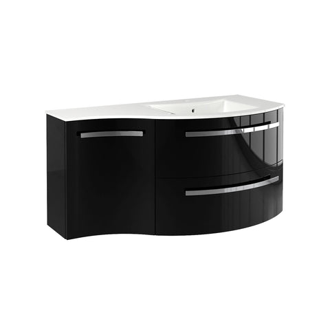 "Latoscana Ambra 43"" Wall-Mounted Vanity With Left Concave Cabinet in Glossy White AM43OPT2W"