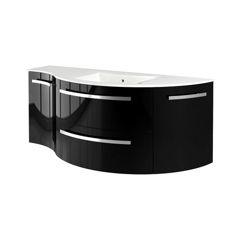 "Latoscana Ambra 52"" Wall-Mounted Vanity With Left Concave and Right Rounded Cabinet in Glossy White AM52OPT1W"