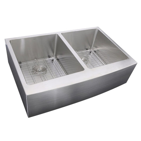 Nantucket Sinks 33 inch Double Bowl Farmhouse Apron Front Stainless Steel Kitchen Sink APRON332210-DBL-SR