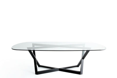 "YumanMod Belfast 78"" Dining Table Glass Top Oakwood Base BR01.02.01"