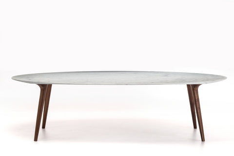 "YumanMod Armidale  86"" Dining Table Walnut White Carrara Marble Top BR01.08.01"