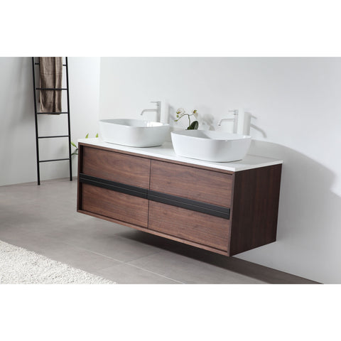 "Image of Karton Republic Sintra 55"" Whitewash Oak Wall Mounted Modern Bathroom Vanity w/Sinks VASINWO55WM"
