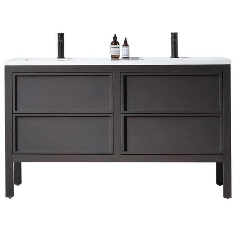 "Karton Republic Annecy 55"" Charcoal Oak Freestanding Modern Bathroom Vanity VAANNCH55FD"