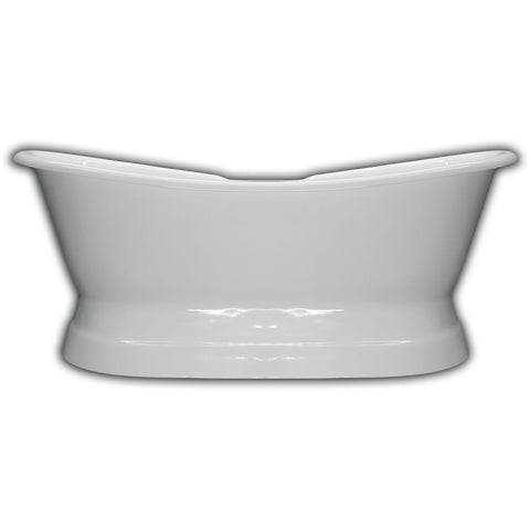 Image of Cambridge Plumbing 71 Inch Cast Iron Double Slipper Pedestal Tub Deck Holes  DES-PED-DH