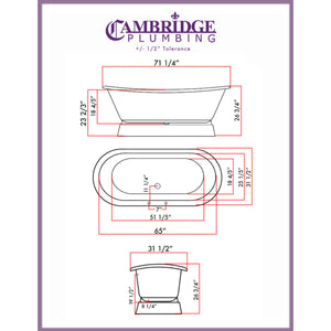 Cambridge Plumbing 71 Inch Cast Iron Double Slipper Pedestal Tub Deck Holes  DES-PED-DH