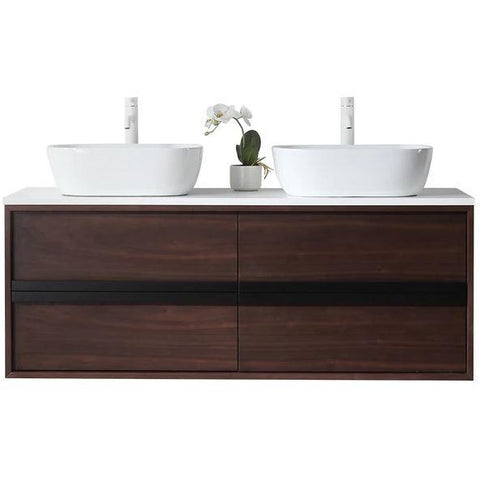 "Image of Karton Republic Sintra 55"" Whitewash Oak Wall Mounted Modern Bathroom Vanity VASINWO55WM"