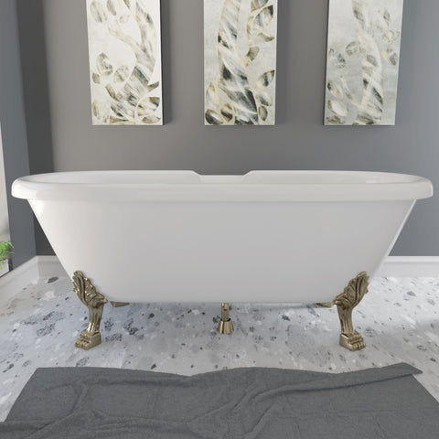 Image of Cambridge Plumbing Dolomite Mineral Composite Double Ended Clawfoot Tub with No Faucet Holes, Antique Brass Feet and Drain Assembly ES-DE69-NH-AB