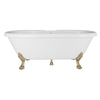 Cambridge Plumbing Dolomite Mineral Composite Double Ended Clawfoot Tub with No Faucet Holes, Antique Brass Feet and Drain Assembly ES-DE69-NH-AB
