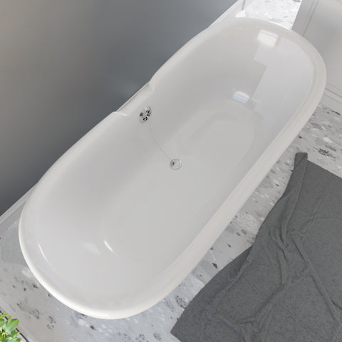 Cambridge Plumbing Dolomite Mineral Composite Double Ended Clawfoot Tub with No Faucet Holes, Polished Chrome Feet and Drain Assembly ES-DE69-NH-CP