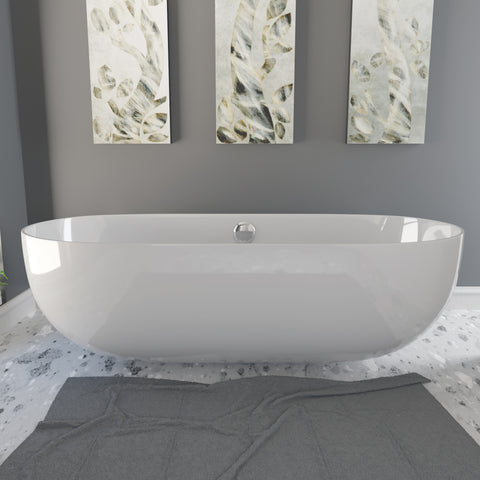 Image of Cambridge Plumbing Dolomite Mineral Composite Modern Freestanding Double Ended Soaking Tub 67 x 30 ES-FSDE67-CP