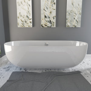 Cambridge Plumbing Dolomite Mineral Composite Modern Freestanding Double Ended Soaking Tub 67 x 30 ES-FSDE67-CP
