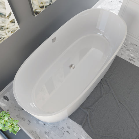Cambridge Plumbing Dolomite Mineral Composite Modern Freestanding Double Ended Soaking Tub 71 x 33.5 ES-FSDE71-CP