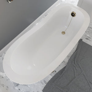 Cambridge Plumbing Dolomite Mineral Composite Clawfoot Slipper Tub with Antique Brass Feet and Drain Assembly 66 x 30 ES-ST66-NH-AB