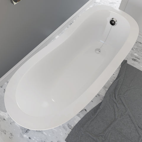 Cambridge Plumbing Dolomite Mineral Composite Clawfoot Slipper Tub with Polished Chrome Feet and Drain Assembly 66 x 30 ES-ST66-NH-CP