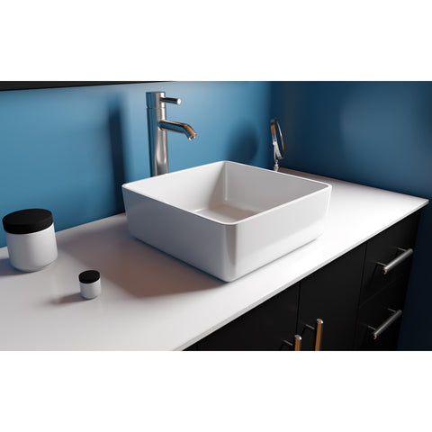 "Cambridge Plumbing Dolomite Mineral Composite 16"" Square Vessel Sink ES-SVS16"