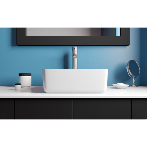 "Image of Cambridge Plumbing Dolomite Mineral Composite 16"" Square Vessel Sink ES-SVS16"