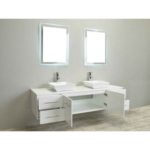 Eviva Totti Wave 60″ Gray Modern Double Sink Bathroom Vanity w/ White Glassos Top & Sinks EVVN147-60GR