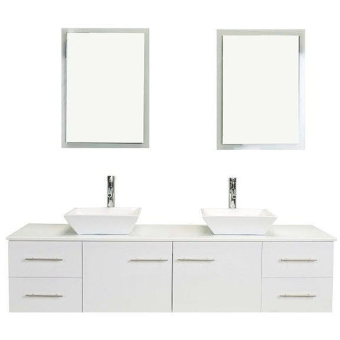 Image of Eviva Totti Wave 60″ Gray Modern Double Sink Bathroom Vanity w/ White Glassos Top & Sinks EVVN147-60GR