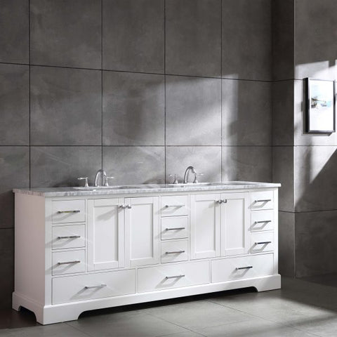Image of Eviva Storehouse 84″ White Bathroom Vanity w/ White Carrara Top EVVN416-84WH